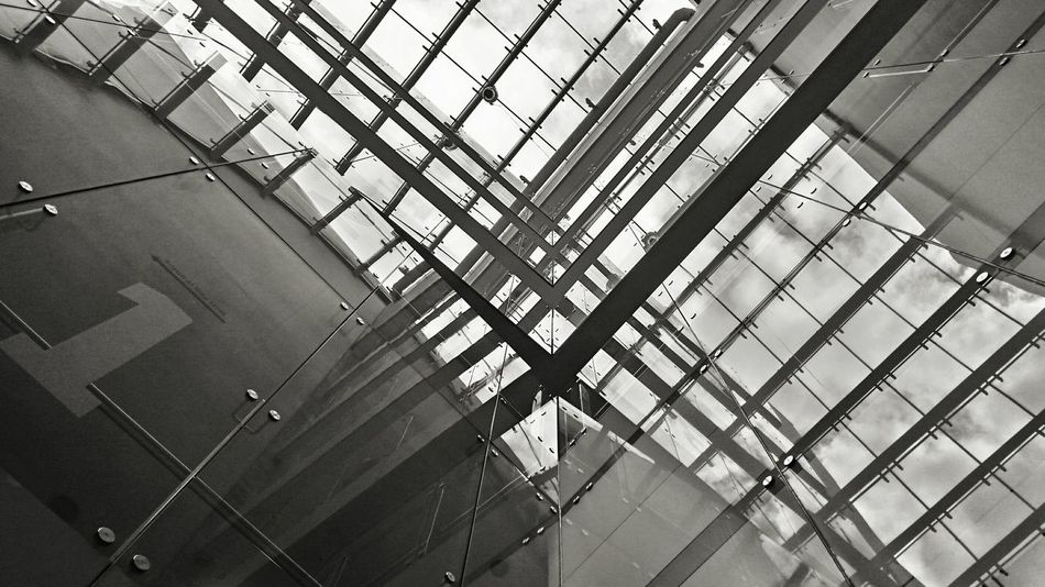Indoors  Backgrounds No People Architecture Day Built Structure Modern Architecture Sky Blackandwhite Black & White Glass Glass Reflection Modern Architecture Modern Glass Building Glass Building Glass Building Window Reflection Reflections Glass Roof NumberOne Windows Window Architecture Black And White Architecture Modern Building Design Number 1