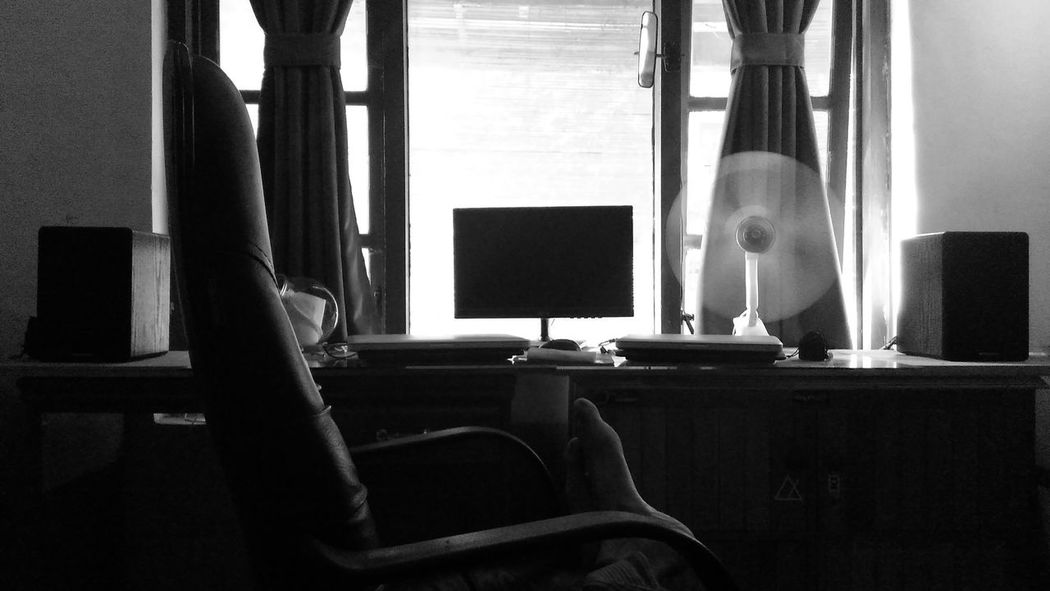 My Room Black & White East Java INDONESIA Black And White Blackandwhite Photography Chair Computer Computer Monitor Day Desk Indoors  My Room My Workspace No People Recording Studio Technology Window Workspace