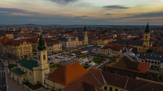 Cityscape Architecture City Sky Crowded Residential District City Life Day Outdoors Oradea,România Crowd Large Group Of People Illuminated Party - Social Event Streetfoodfestival