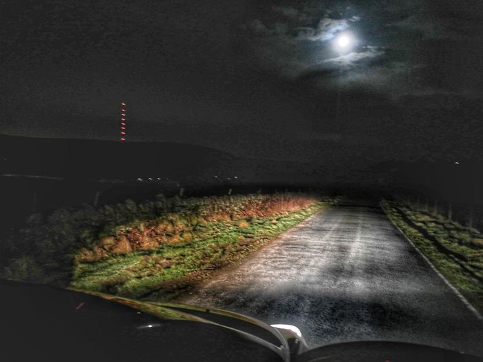 Into The Moon Night Car Road Transportation No People Outdoors Illuminated Sky At Night