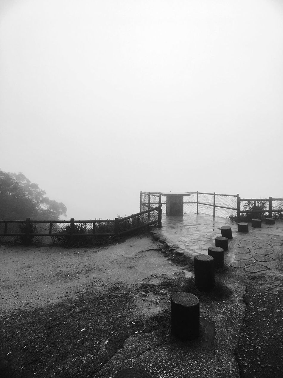 Nature Railing No People Tranquility Outdoors Beauty In Nature Built Structure Day Tranquil Scene Sky Scenics Rainy Day Black & White Light And Shadow IPhoneography Travel Destinations Black And White Moment Lens Moment Wide Rural Scene