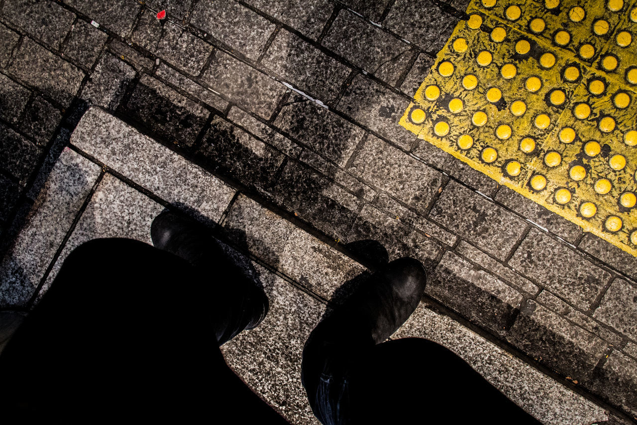 Footscapes Broken Patterns Stand For Land Change Your Perspective Yellow TakeoverContrast Authentic Moments Enjoying Life EyeEm Best Shots EyeEm Gallery From My Point Of View Getting Inspired High Angle View Human Leg Legs Lifestyles Light And Shadow Low Section Man Minimalobsession Simple Moment Street Photography Tiled Floor Urban Exploration Pattern Pieces