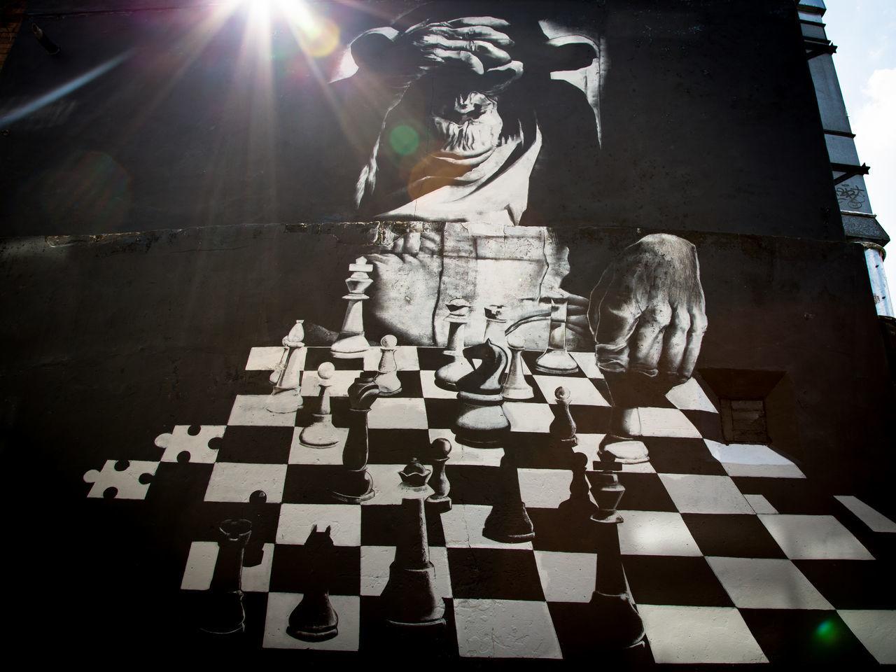 Artist Chess Chess Board Chess Piece Creativity Day No People Outdoors Street Art Street Photography Streetart Sunlight Wall Art