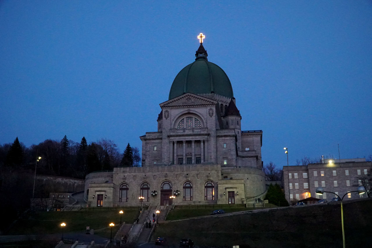 Architecture Blue Building Exterior Built Structure City Clear Sky Dome Illuminated Low Angle View Lowlight Night No People Oratory Outdoors Place Of Worship Religion Saint Joseph Santuario Santuary Sky Spirituality St Joseph St Joseph Oratory Travel Destinations