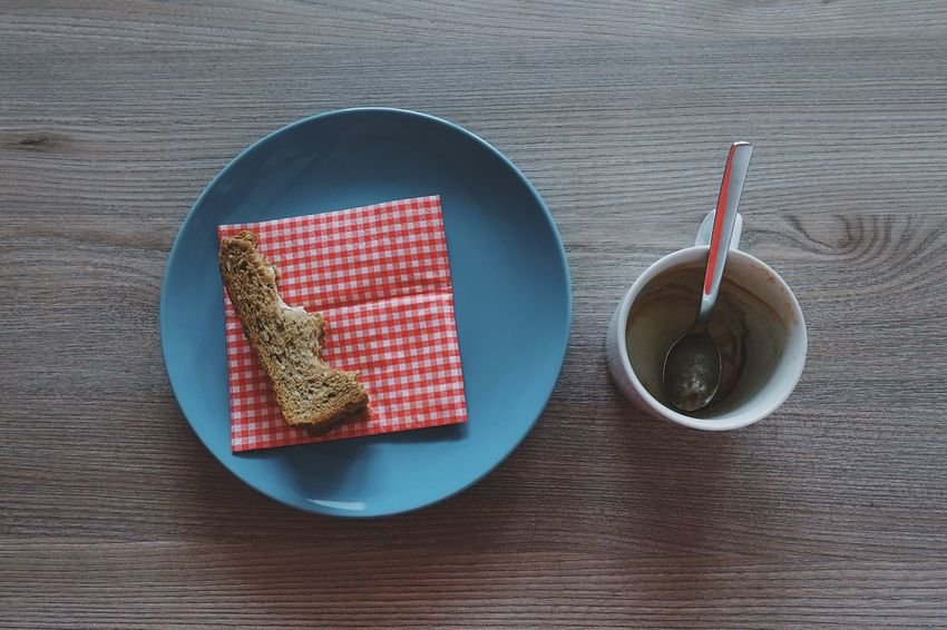 Blue Bread Breakfast Close-up Coffee Coffee Break Coffee Time Colors Day Daylight Dessert Directly Above Drink Food Food And Drink Freshness High Angle View Indoors  Lifestyles Plate Red Still Life Sweet Food Table Wood - Material BYOPaper! Visual Feast