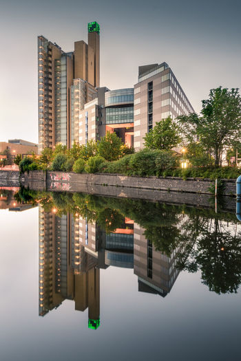 Perfect weather conditions for this shot :-) Architecture Atrium Tower Berlin Building Exterior Built Structure City Cityscape Day Debis Tower Lake Modern Nature No People Outdoors Potsdamer Platz Reflecting Pool Reflection Sky Skyscraper Standing Water Symmetry Travel Destinations Tree Water Waterfront