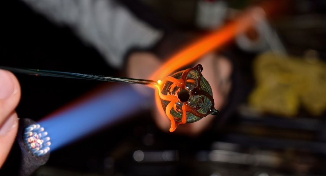 Glass Blowing #glassart #glassblowing Art Concentration Creativity Creativity Has No Limits Entrepreneur Flames Girl Power Glass Artist Glass Artistry Glass Artwork Glass Blowing Hand Made Handmade Heat Skill  The Innovator Showcase June The Mix Up