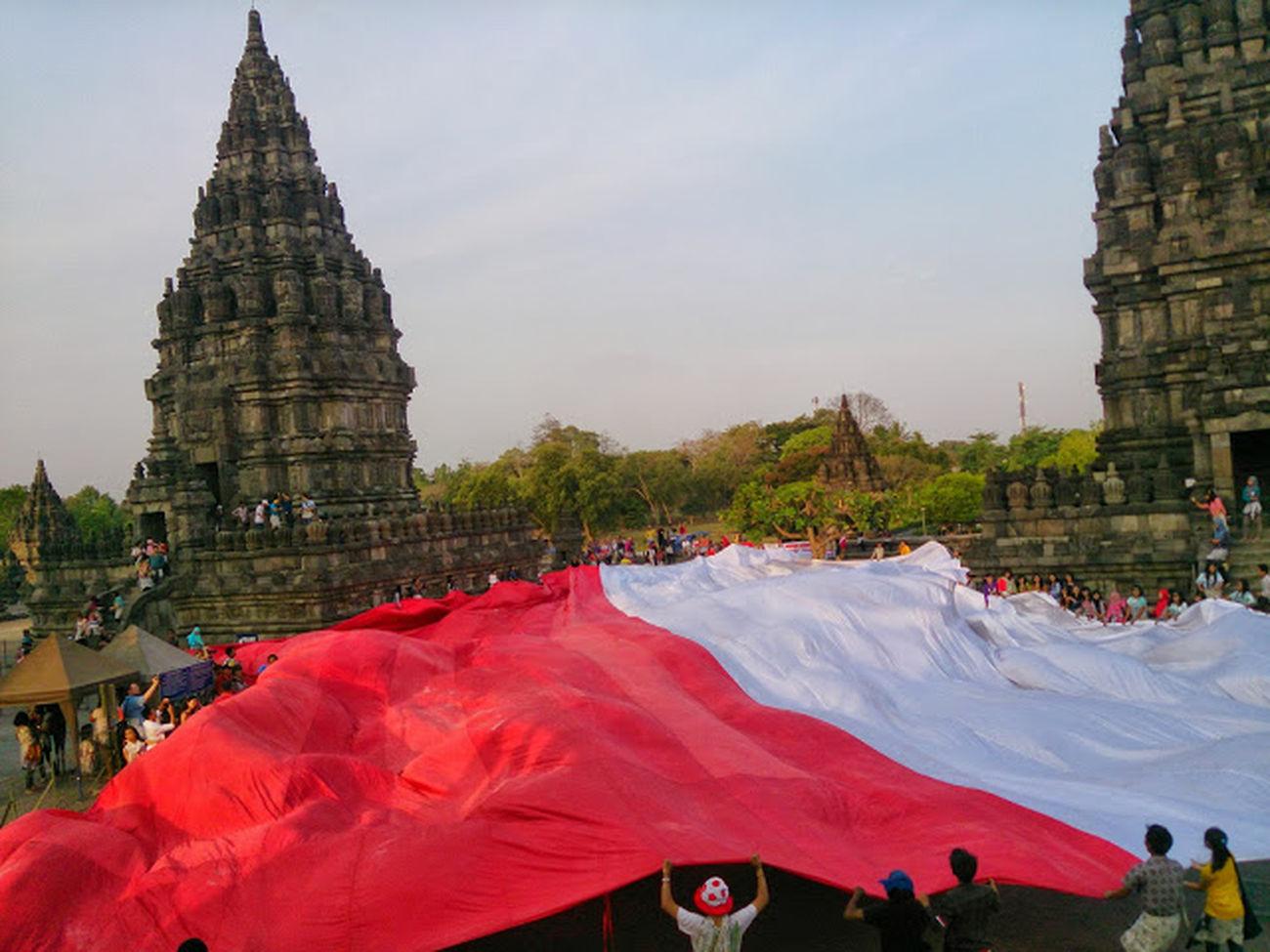 prambanan National Flag Wonderful Indonesia I Love Indonesia Flag