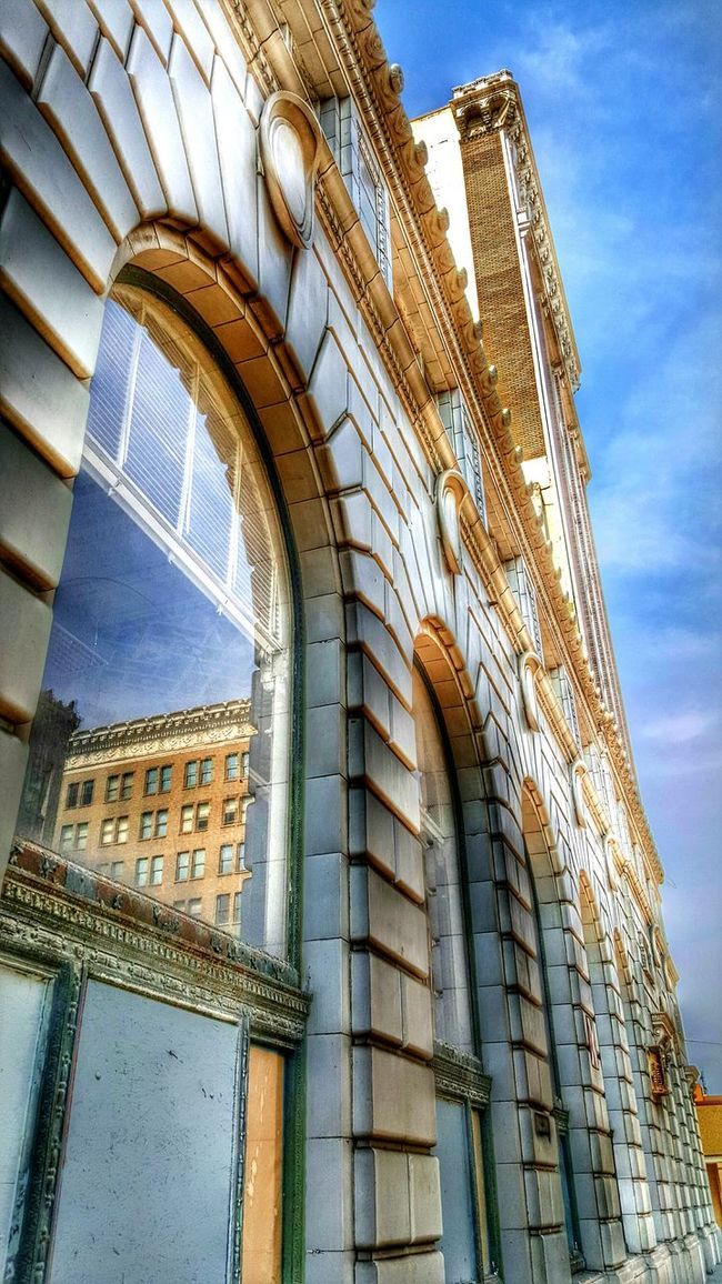 Low Angle View Building Exterior Architecture Built Structure History Tall Outdoors Tall - High Architectural Feature Downtown Fresno, Ca Reflection In The Window Dramatic Angles No People Red Brick Reflection