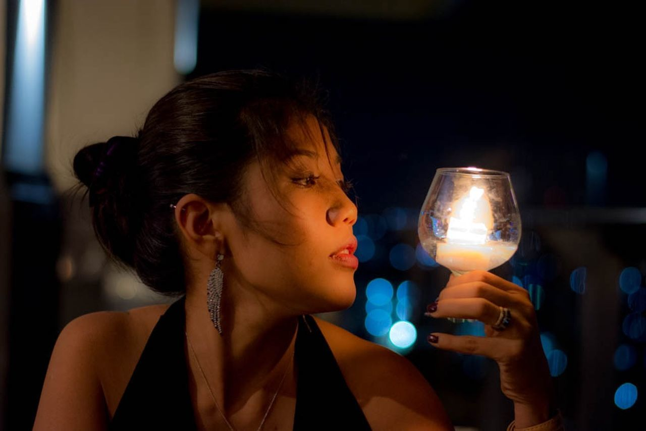 one person, night, focus on foreground, headshot, real people, illuminated, indoors, young adult, beautiful woman, close-up, young women, futuristic, adult, people, adults only