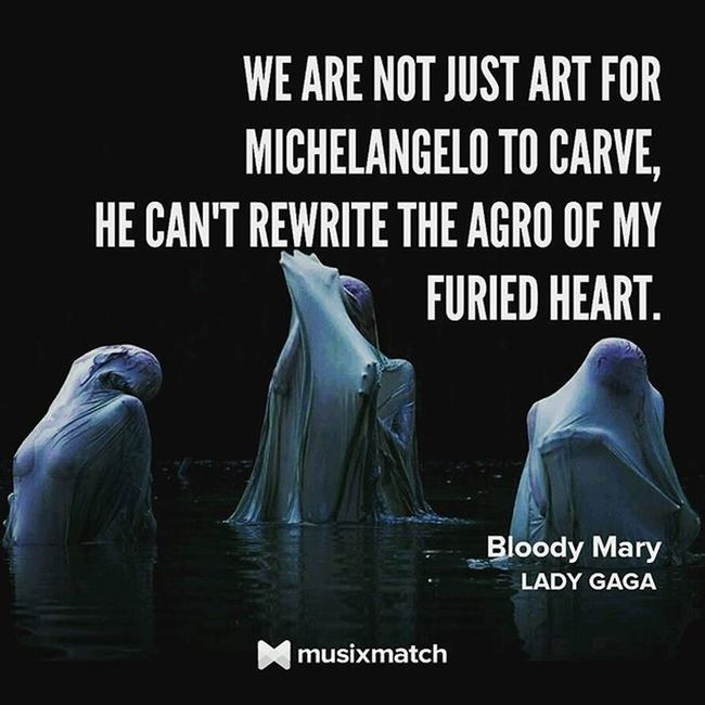 I won't cry for you I won't crucify the things you do I won't cry for you, see When you're gone I'll still be bloody Mary Gaga Bloodymary Queen Btw Bornthisway Musicxmatch Song Musiclover