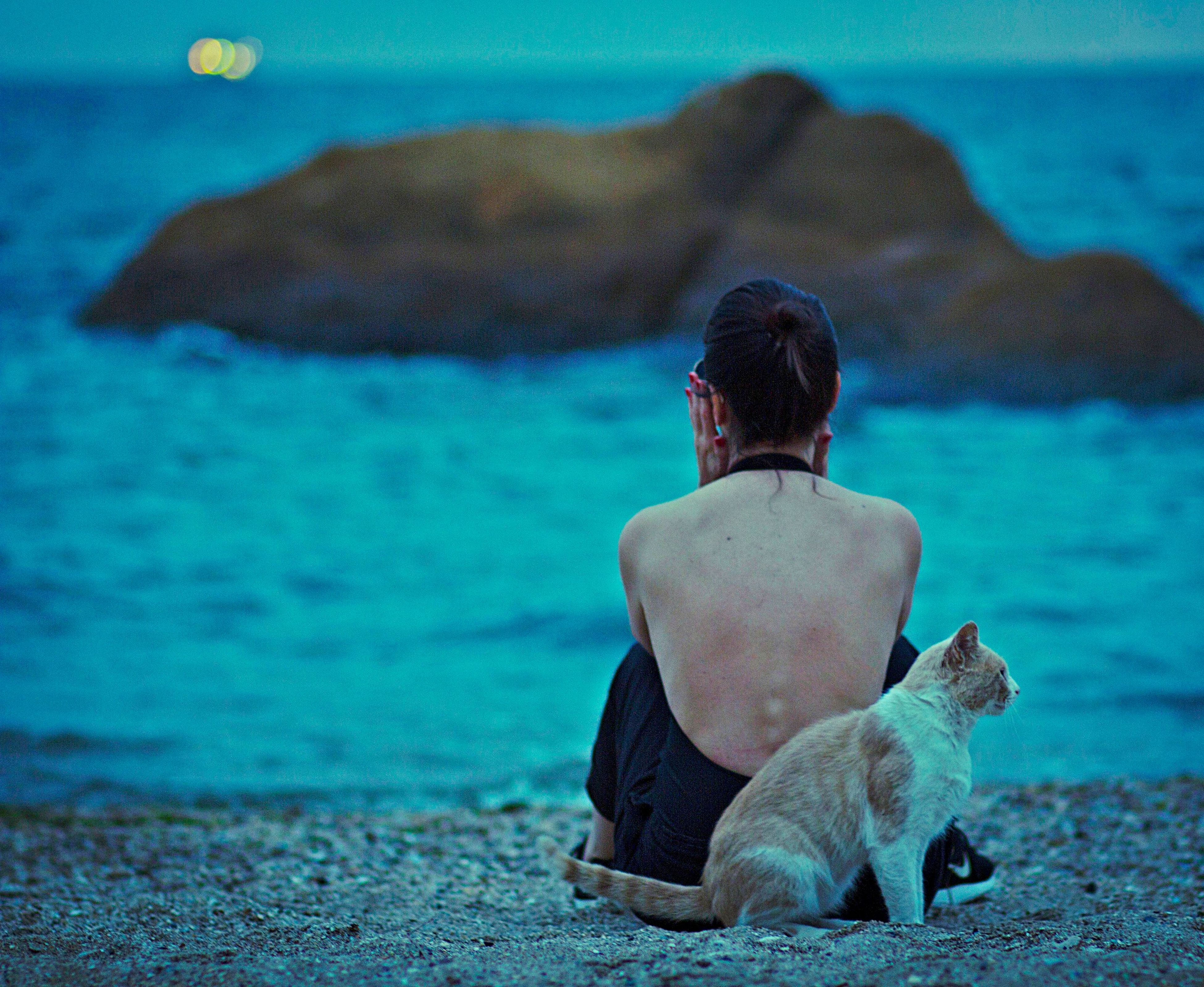 rear view, beach, focus on foreground, sea, sitting, water, casual clothing, leisure activity, vacations, relaxation, in front of, person, shore, scenics, tranquil scene, day, getting away from it all, nature, tranquility, medium-length hair, carefree, black hair, weekend activities, solitude, outdoors, beauty in nature, loneliness