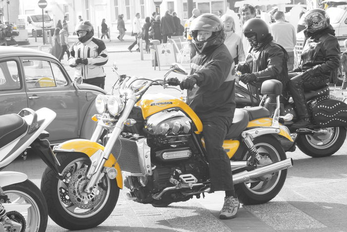 Black And White Blackandwhite Motorcycles Colour Splash Motorbike Land Vehicle Mode Of Transport Transportation Travel Roadside Sidewalk Triumph Triumphmotorcycles Yellow