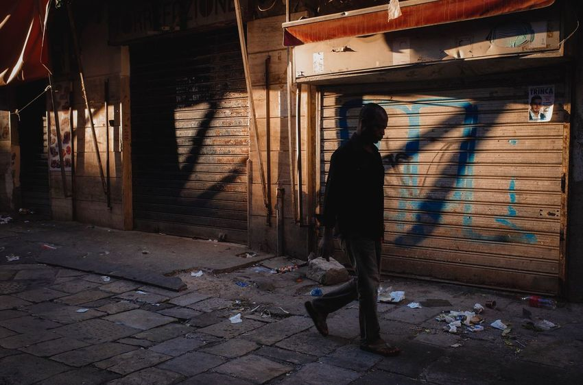 One Person Full Length Real People Built Structure Architecture Building Exterior Standing Lifestyles Men Outdoors Day City People Adult Ballaro Palermo Neighborhood Migrants Street Streetphotography Golden Hour Shadow Shadows & Lights Urban