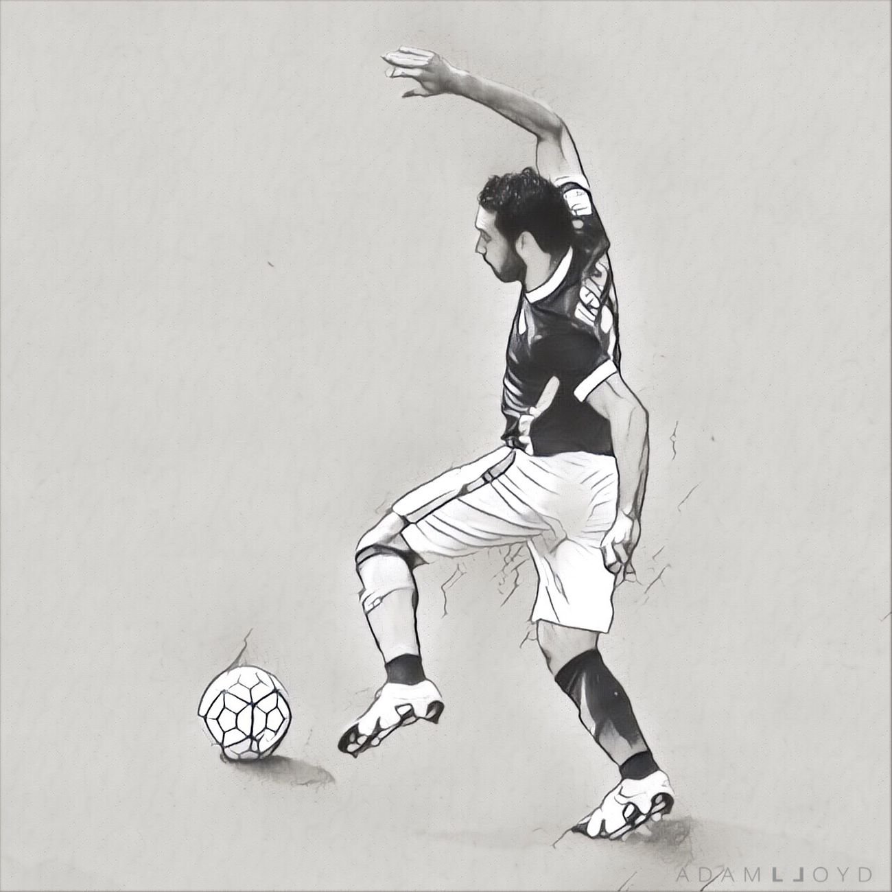 Salah Blackandwhite Digital Art As Roma Football Full Length One Person Real People Motion Outdoors Sports Uniform Day People Physical Education