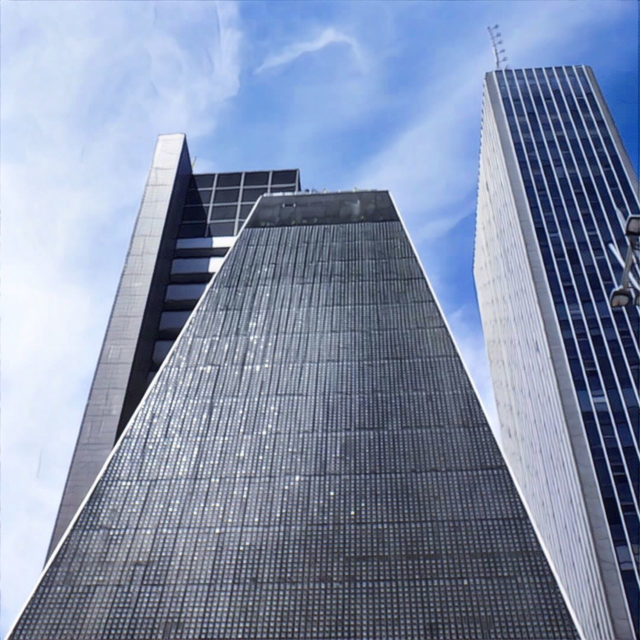 skyscraper, modern, architecture, low angle view, sky, built structure, building exterior, day, no people, city, outdoors, cloud - sky