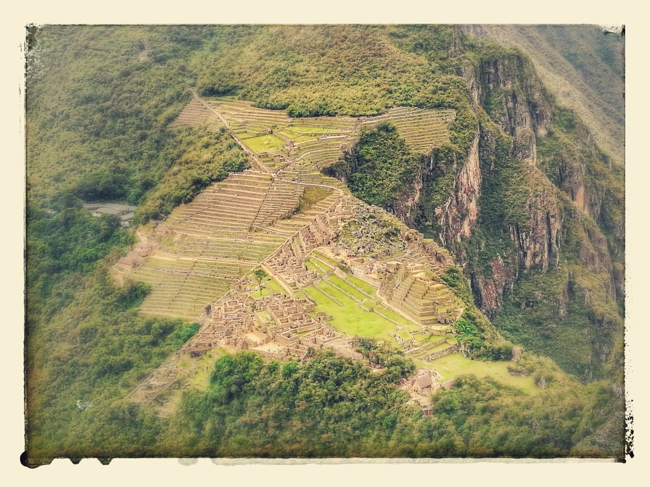 tranquil scene, tranquility, landscape, no people, day, nature, scenics, high angle view, outdoors, beauty in nature, history, ancient, green color, agriculture, tree, travel destinations, terraced field, rural scene, ancient civilization