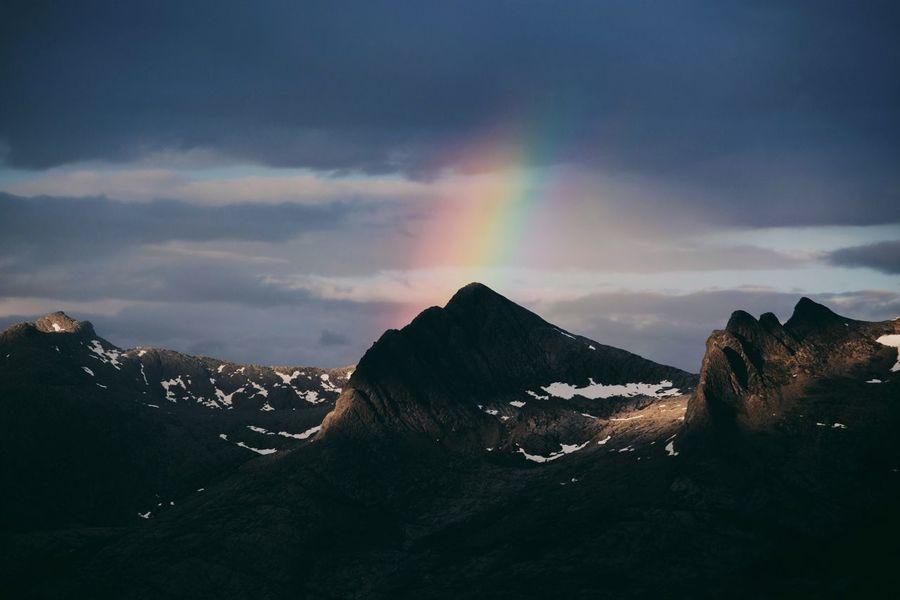 Sandnessjøen Syvsøstre Scandinavia Norway Mountain Nature Mountain Range Scenics Beauty In Nature Cloud - Sky Sky Tranquil Scene No People Rainbow Outdoors Snow
