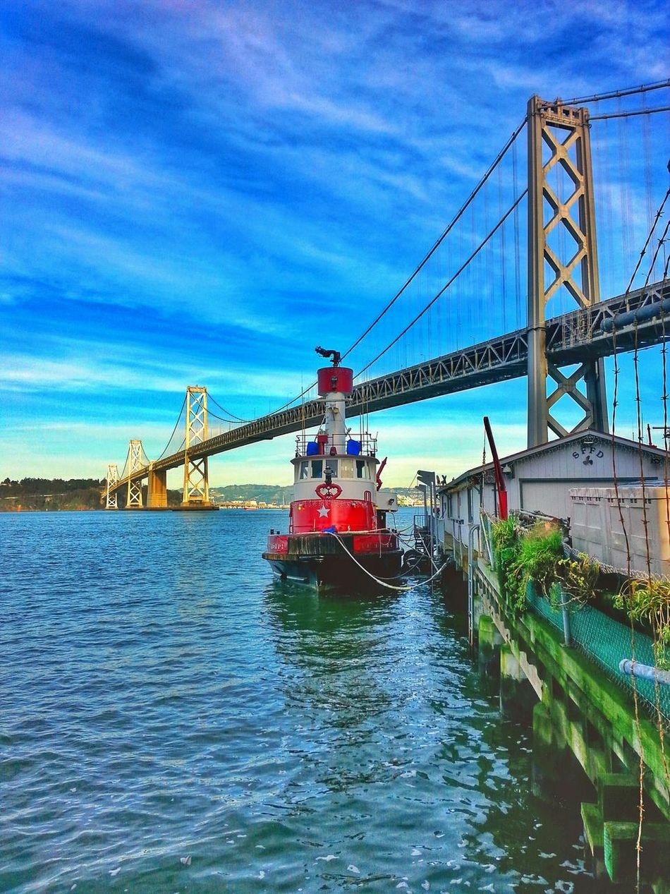 Fire boat... increased saturation to see how it would look online. It looks overdone on the phone. San Francisco San Francisco Bay Bridge San Francisco Bay Fire Boat SFFD