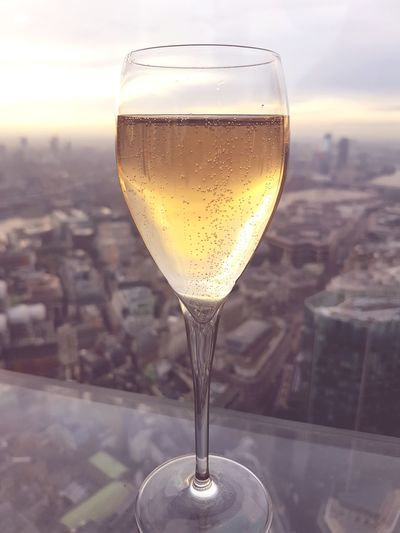 champers over London London Londonskyline Champersinthesky Champagne Londonskyline Christmasinlondon Alcohol Drinking Glass Beer - Alcohol No People