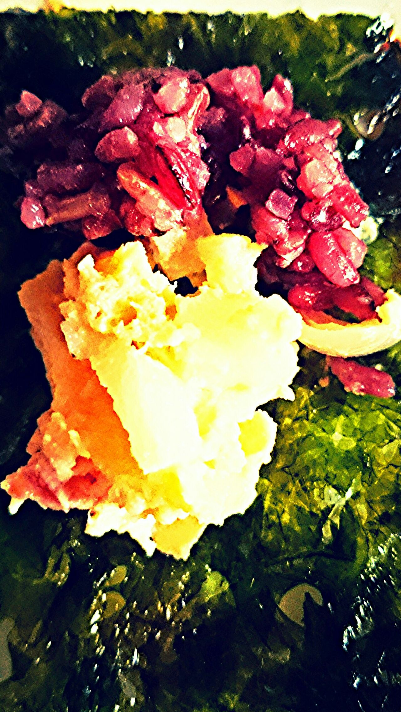Breakfast Red Rice with Scrumbled Egg With Green Tea Seasoned Laver Food Artjust like a Face Of A Woman Sideview Part Burp!! :)