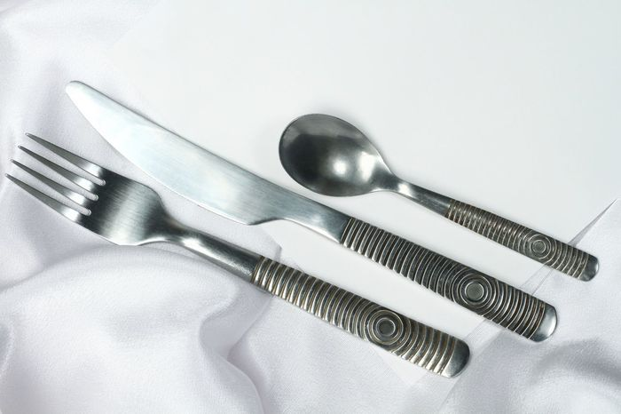 spoon knife and fork silverware and restaurant Hard Knife Spoon Table Setting Black Close-up Fabric Fork High Angle View Indoors  Metal Pattern Reastaurant Silver  Silver - Metal Silver Colored Silver Spoon Spoon And Fork Stainless Steel  Steel Still Life Studio Shot Table White White Background
