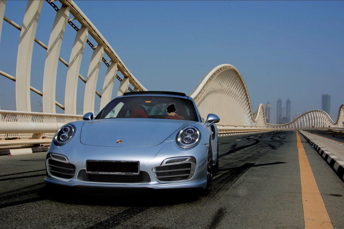 Porsche Germany Car Porsche 911 Turbo S Speed Blue Sky Bridge Summer Dubai Super Car