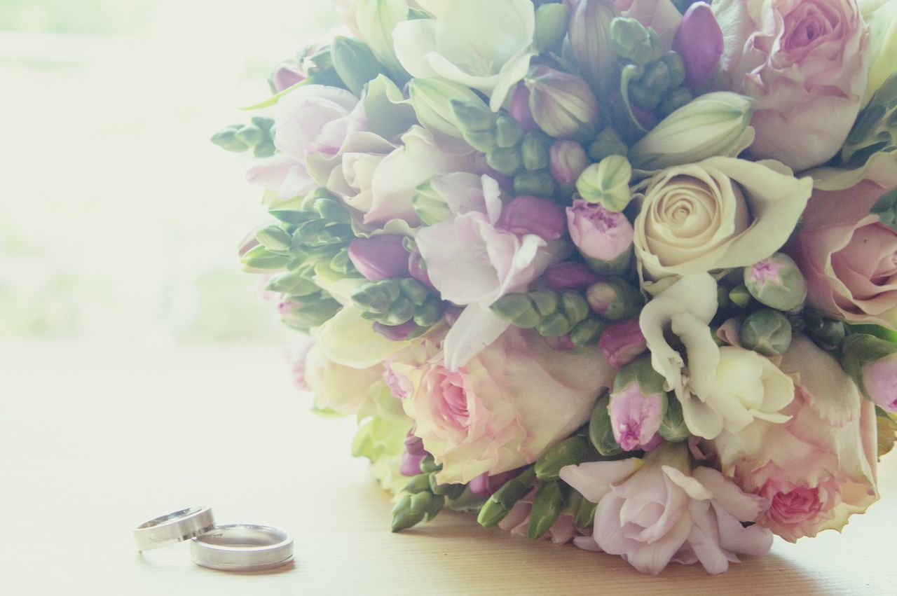flower, rose - flower, petal, fragility, bouquet, wedding, celebration, beauty in nature, freshness, nature, flower head, no people, table, indoors, pink color, vase, peony, close-up, day, rose petals