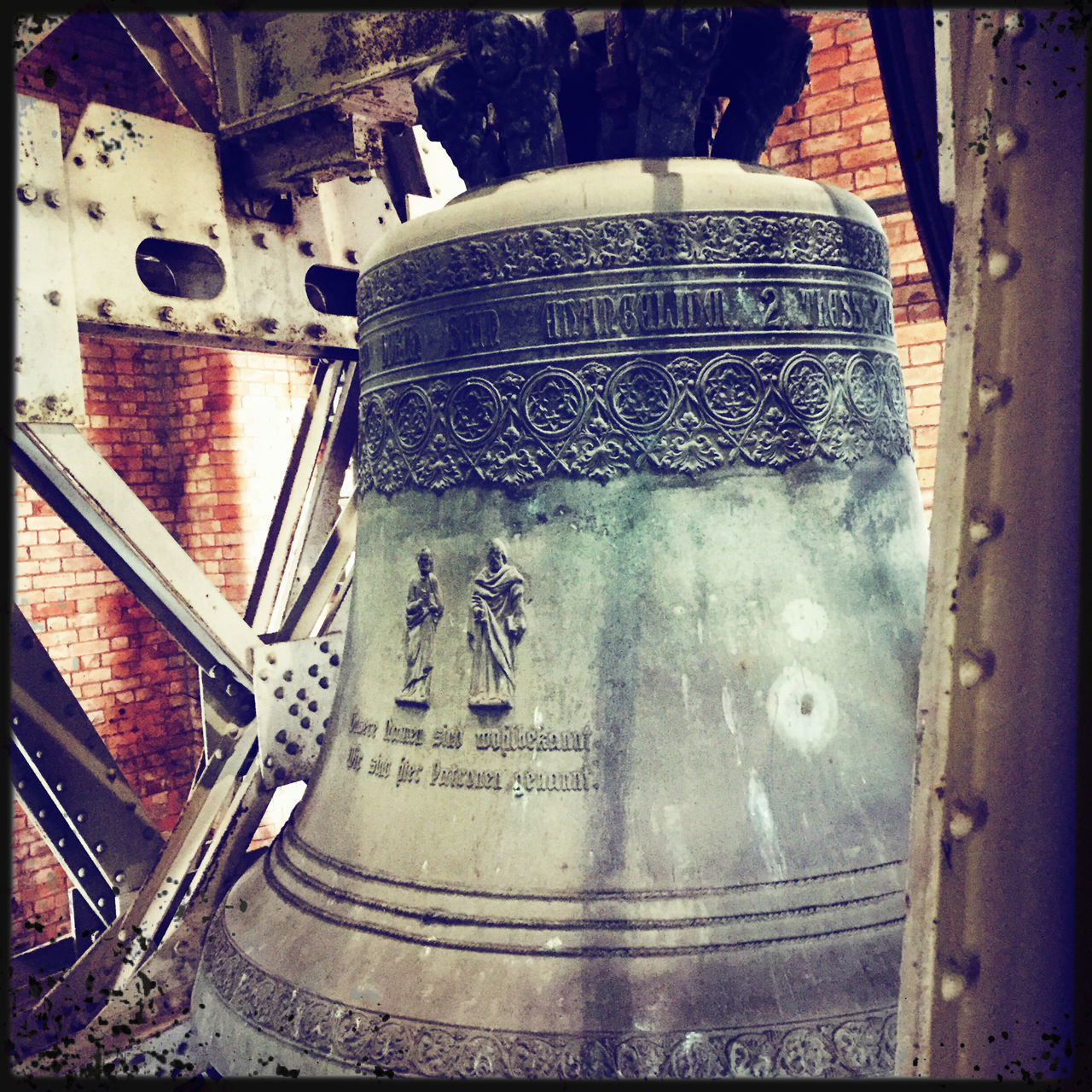 Zeitzeuge Bell Bell Tower Church Close-up Kirche Metal Mobilephotography No People Religion St. Petri