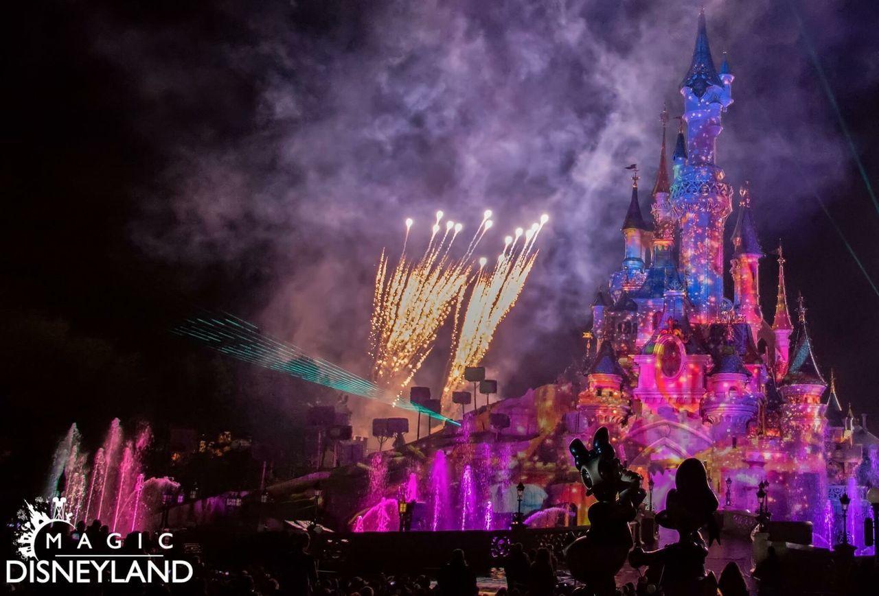 Celebration Night Firework Display Illuminated Disney Disneyland Disneyland Paris Disneyland Resort Paris Amusement Park Multi Colored