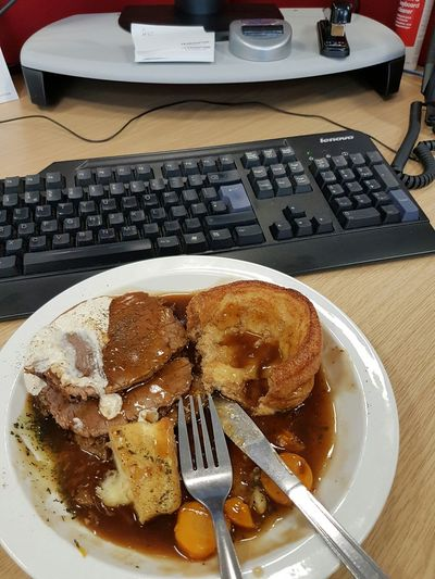 Desk Lunch Roastbeef Yorkshirepudding Working Hard Worklifebalance Lifestyle Cutlery Keyboard Gravy Carrots Roastpotatoes