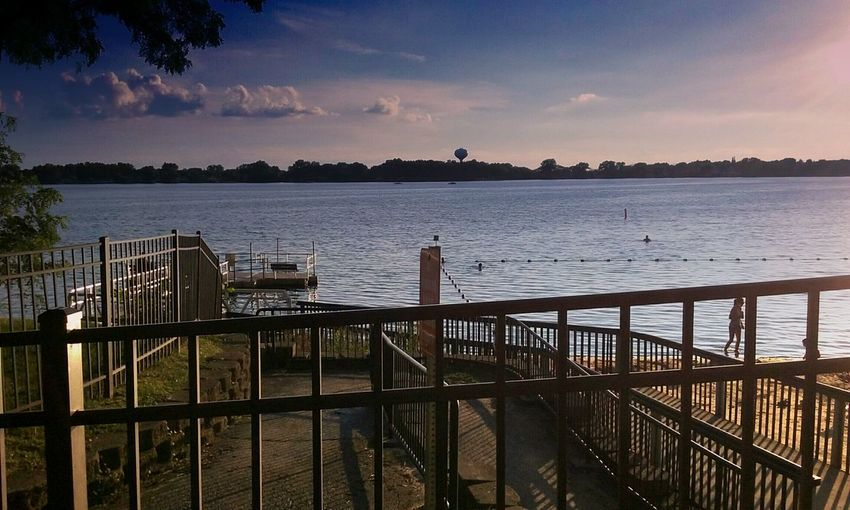 Railing Scenics Water Tranquility Tranquil Scene Lake Sky Pier Beauty In Nature Nature Blue Outdoors Cloud - Sky Lake Zurich Illinois Tree Sunset Peaceful No People