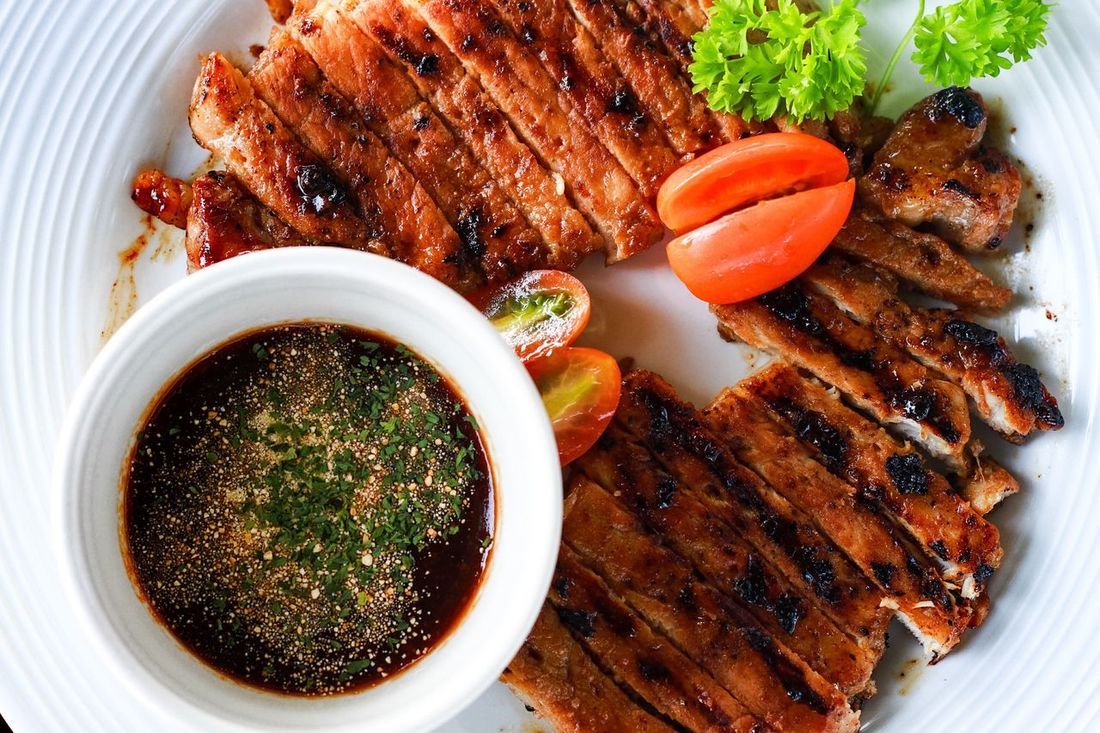pork grill Food Savory Food Plate Food And Drink Meat Meal Ready-to-eat Barbecue High Angle View Freshness Grilled Serving Size Close-up Healthy Eating Indoors  No People Chicken Wing Roast Dinner Mealtime Food And Drink ThaiFoodGoodTaste Thaifoodstyle Thaifooddelicious