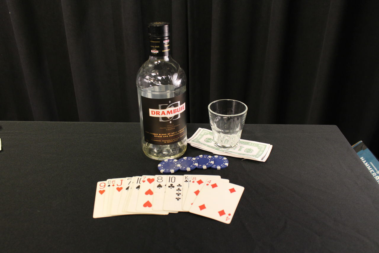 table, drink, indoors, bottle, drinking glass, gambling, food and drink, no people, leisure games, chance, close-up, gambling chip, day