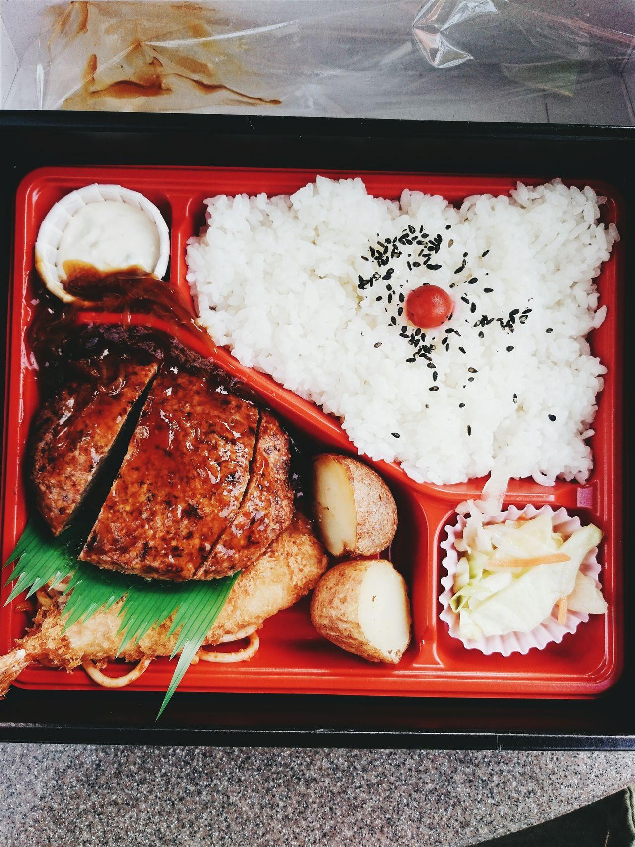 Japan Japanese Food Bento Bentobox Lunch Lunch Box Food Hamburg Hamburger Rice Picnic Directly Above Day Close-up Potato