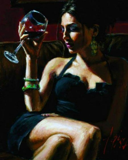 The Woman In My Dream Chic Elegance Beauty Wine And Woman Enjoying Life Art, Drawing, Creativity