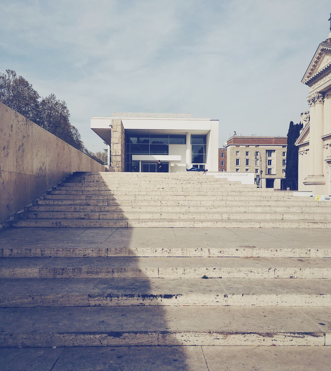 Built Structure Architecture Building Exterior Steps The Way Forward Sky Steps And Staircases Staircase Outdoors No People Day Stairs Ara Pacis Modern Architecture Richard Meier Marble Travertine White Wall