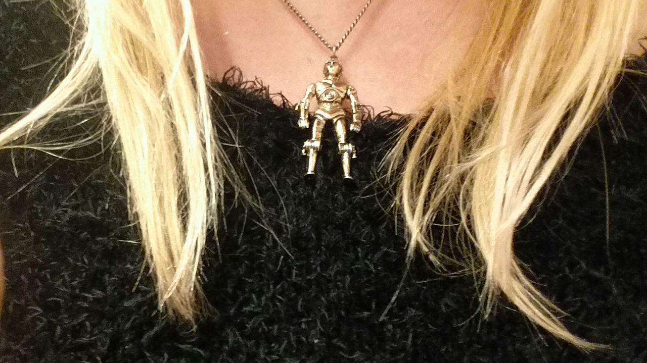 My original C-3PO necklace I purchased in 1977. Starwars Star Wars C-3PO Necklace 1977 Star Wars Collectables Star Wars Original Trilogy Star Wars The Force Awakens