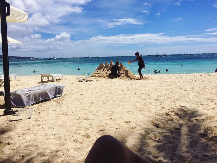 Beach Sand Sea Real People Shore Sky Water Nature Leisure Activity Men Day Cloud - Sky Beauty In Nature Horizon Over Water Outdoors Lifestyles Vacations Standing Low Section Scenics Boracay Philippines BoracayIsland Boracay Island  Boracay Island, Philippines
