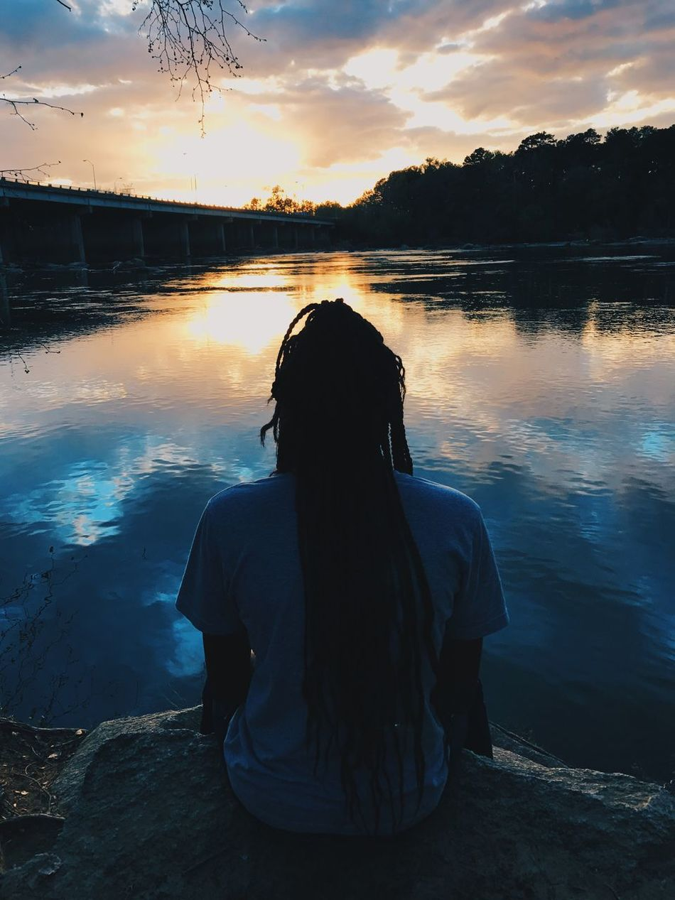 Reflection Sunset Sky Water Rear View Nature Lake Leisure Activity One Person Scenics Outdoors Beauty In Nature Relaxation Real People Silhouette Tranquility Cloud - Sky Men Day Adult