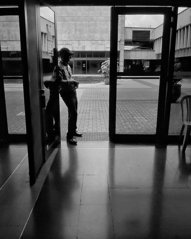 Monochrome Photography Full Length Reflection Person Indoors  Waiting One Person Only Men Rear View People Adult Men One Man Only Day Horizontal monocrome