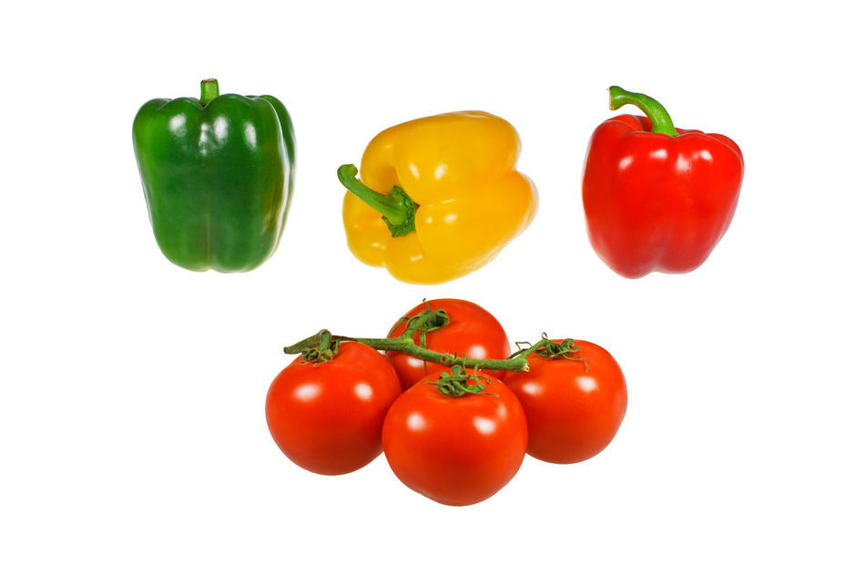 Some vegetables isolated. Bell Pepper Cherry Tomato Close-up Day Food Food And Drink Freshness Green Bell Pepper Healthy Eating Isolated White Background No People Pepper - Vegetable Red Red Bell Pepper Still Life Studio Shot Tomato Variation Vegetable White Background Yellow Bell Pepper