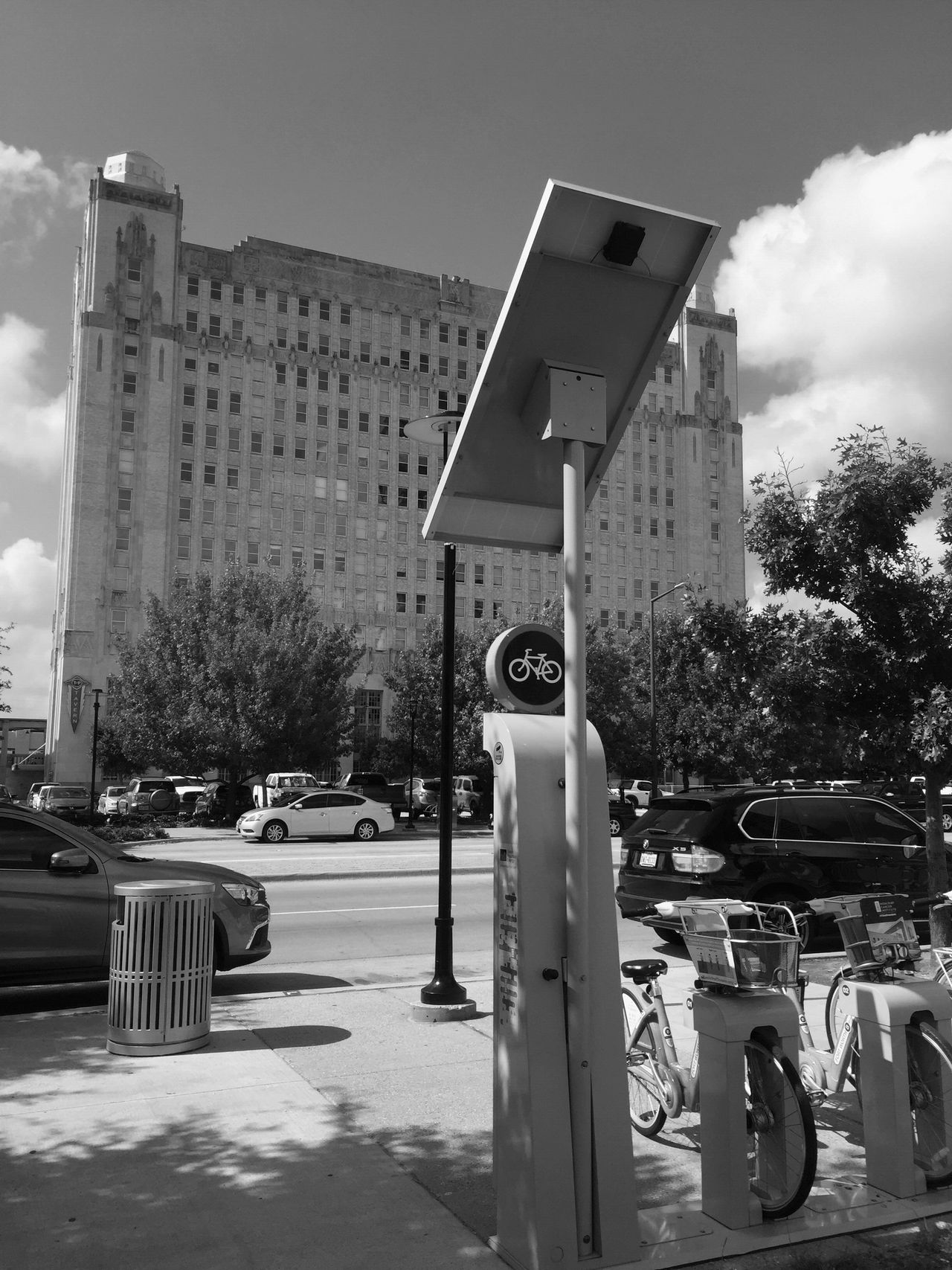 Built Structure Architecture Day Sky Outdoors Building Exterior No People Tree Road Sign City Bike Rack Biking Bike Life Monochrome Photography Ft Worth Bike Rental Urban Landscape