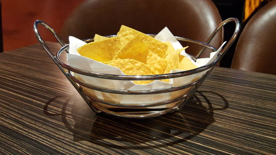 """""""Chips"""", prepping for my main course at El Mazatlan, Bowling Green, KY. Food Ready-to-eat Freshness Close-up Snack No People Crunchy Nacho Chip Nacho Nachos Nachos Time Galaxy S6 Edge Unhealthy Eating Food And Drink Indoors  Bowl"""