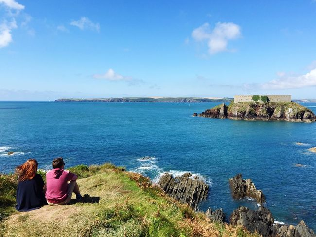 The Essence Of Summer Hello World Pembrokeshire Coast Path Pembrokeshire Coast Angle Pembrokeshire Check This Out Summertime Sea And Sky Ocean View Looking Out To Sea. People Together