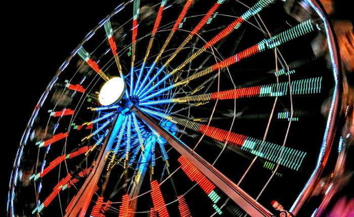 Ferris wheel in a amusement park. Ferris Wheel Night Photography HTC_photography Light Streaks Amusementpark Constanta