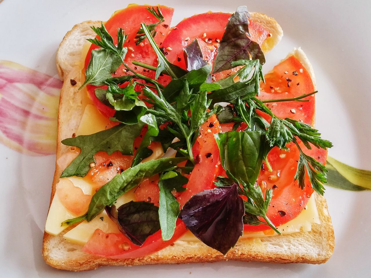 made with love for me Nomnombomb Food And Drink Brunch Toastbread Cheese Tomato Parsley Rocket Basil Purple Red Yellow Oregano Salt Ground Pepper Showcase: February Colour Image Vacations Table Good Morning Foodporn Food And Drinks New Zealand Olive Oil Delicious
