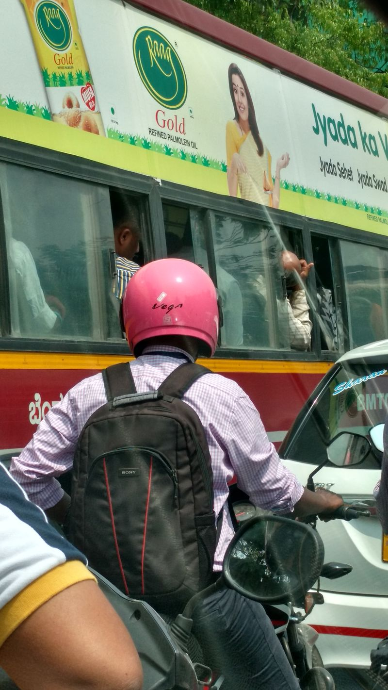 Millennial Pink One Person Outdoors Public Transportation Traffic Signal Bangalore Traffic Helmet Safety First! Pink Office Going