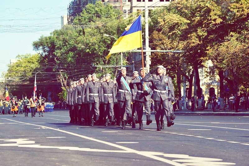 Ucranian Soliders Parade Time Parade Solider Salutes Celebration Republic Of Moldova Independence Day
