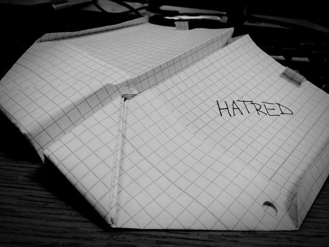 Hatred Paper Paperplanes Black&white Wrath